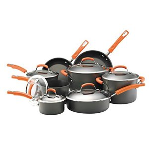 Rachael Ray Brights Hard-Anodized Nonstick Cookware Set with Glass Lids, 14-Piece Pot and Pan Set, Gray with Orange Handles