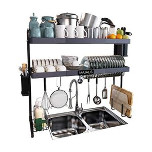 """Over The Sink Dish Drying Rack, Majalis Stainless Steel 2 Tier Large Dish Dariner Above Sink Adjustable 27.5"""" - 33.5"""", Expandable Kitchen Organizer Storage Space Saver Shelf with 6 Utility Hooks(Grey)"""