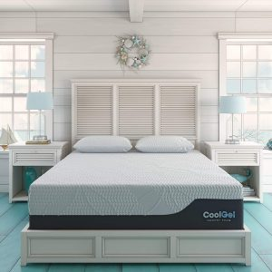 Classic Brands Cool Gel 1.0 Ultimate Gel Memory Foam 14-Inch Mattress with BONUS 2 Pillows , Queen, White