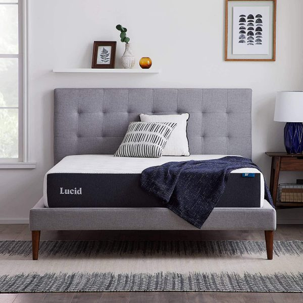 LUCID 10 Inch 2019 Gel Memory Foam Mattress - Medium Firm Feel - CertiPUR-US Certified (Queen)
