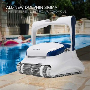 DOLPHIN Sigma Robotic Pool Cleaner with Bluetooth and Massive Top-Load Cartridge Filters, Ideal for Pools up to 50 Feet.
