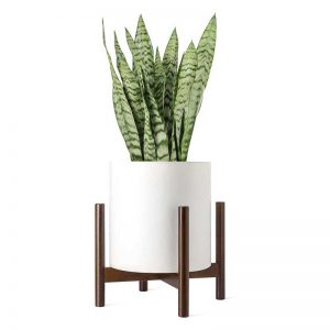 Mkono Plant Stand Mid Century Wood Flower Pot Holder (Plant Pot NOT Included) Potted Stand Indoor Display Rack Rustic Decor, Up to 14 Inch Planter, Dark Brown