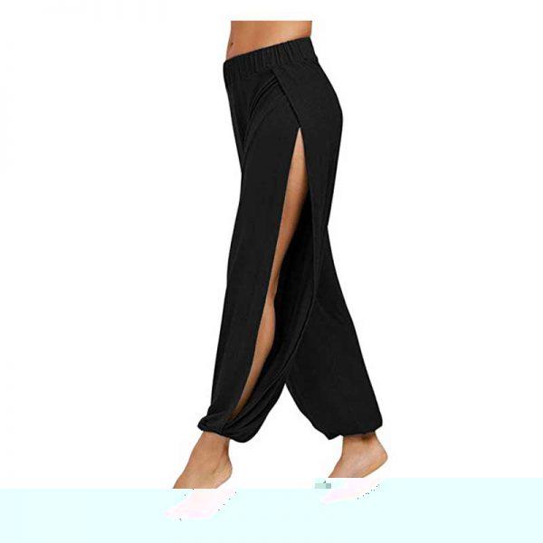 fitglam Women's High Slit Harem Yoga Pants Loose Fit Lounge Beach Pants