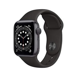 New Apple Watch Series 6 (GPS + Cellular, 40mm) - Graphite Stainless Steel Case with Black Sport Band