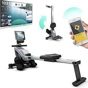 Bluefin Fitness Rower Machine Blade Home Gym Foldable   Magnetic Resistance Rower   8 x Tension Levels   Smooth Belt Drive   LCD Digital Fitness Console   Smartphone App   Black & Grey Silver