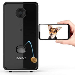 Iseebiz Pet Camera Treat Dispenser, App Remote Control Tossing for Dogs Cats, 2-Way Audio, Live Video, 720P Auto Night Vision Cam, 2.4G Wifi Enabled, Compatible with Alexa, Check Your Fur Kids Anytime