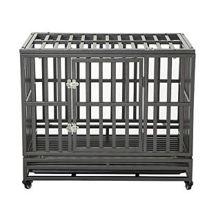 LUCKUP Heavy Duty Dog Crate Strong Metal Kennel and Crate for Large Dogs,Easy to Assemble with Four Wheels