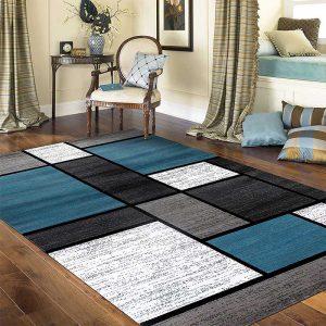 "Contemporary Modern Boxes Area Rug 7' 10"" X 10' 2"" Blue/Gray"