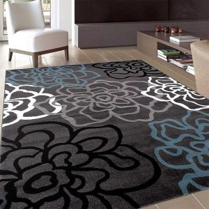 """Contemporary Modern Floral Flowers Gray Area Rug 7' 10"""" X 10' 2"""""""