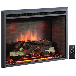 PuraFlame 33 Inches Western Electric Fireplace Insert Heater with Fire Crackling Sound, Remote Control, 750/1500W, Black