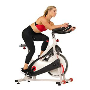 Sunny Health & Fitness Premium Indoor Cycling Exercise Bike with Clip-in Pedals