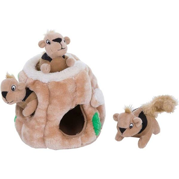 Outward Hound Hide-A-Squirrel Squeaky Puzzle Plush Dog Toy - Hide and Seek Activity for Dogs
