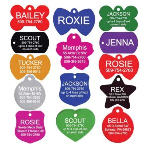 GoTags Pet ID Personalized Pet Tags for Dogs and Cats. Front & Backside Engraving. Various Shapes, Colors and Sizes. Anodized Aluminum