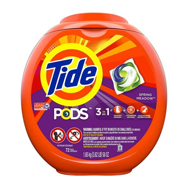 Tide PODS Liquid Laundry Detergent Pacs, Spring Meadow, 72 count