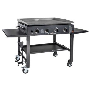 Blackstone 1554 Station-4-burner-Propane Fueled-Restaurant Grade-Professional 36 inch Outdoor Flat Top Gas Grill Griddle Station-4-bur, 36- 4 Burner