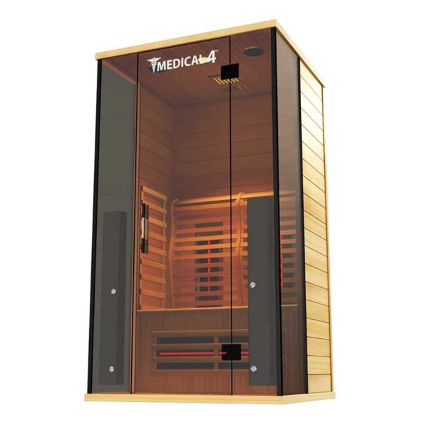 Medical Sauna 4 Full Spectrum-Home Sauna - 2 Person Indoor Infrared Sauna Spa-Oxygen Ionizer, Chromatic Light Therapy, Hot Yoga-Audio System-Full Spectrum, Carbon Heaters-Luxury Sauna
