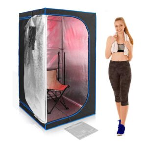 Serenelife Portable Full Size Infrared Home Spa-One Person Sauna-with Heating Foot Pad and Portable Chair