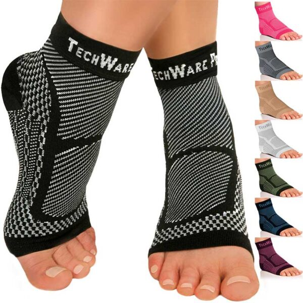 TechWare Pro Ankle Brace Compression Sleeve - Relieves Achilles Tendonitis
