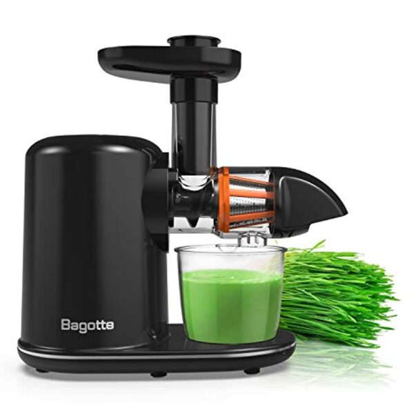 Masticating Juicer Machines, Bagotte Slow Juicer Extractor, Easy to Clean, Quiet Motor & Reverse Function, Cold Press Juicer for Vegetables and Fruits, Juice Recipes, BPA-Free