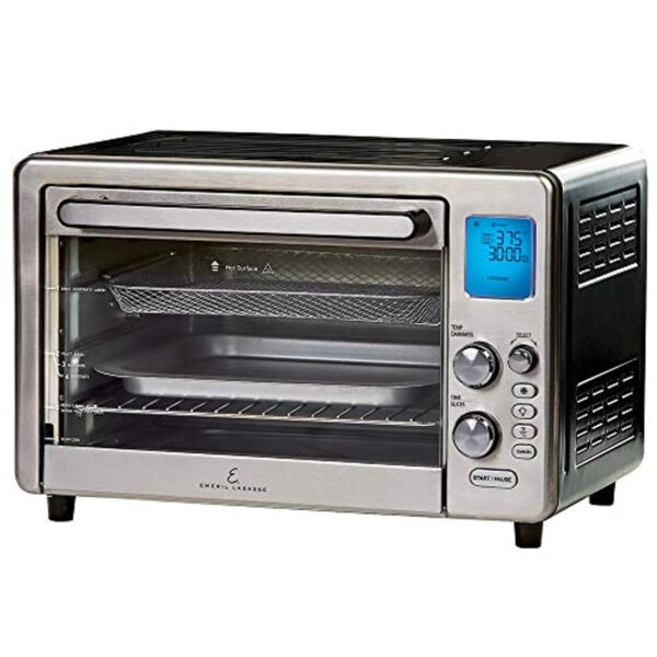 """Emeril Lagasse Power Air Fryer 360 Max XL Family Sized Better Than Convection Ovens Replaces a Hot Air Fryer Oven, Toaster Oven, Rotisserie, Bake, Broil, Slow Cook, Pizza, Dehydrator & More. Emeril Cookbook. Stainless Steel. (MAX 15.6"""" 19.7"""" x 13"""")"""
