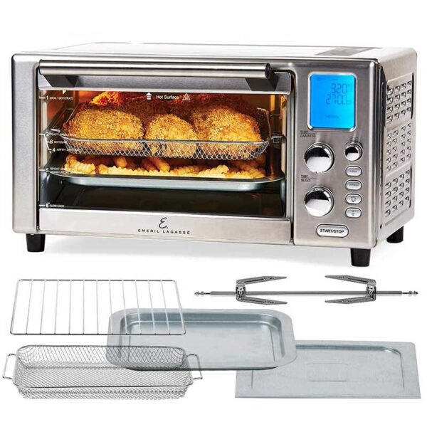Emeril Lagasse Power Air Fryer Oven 360   2020 Model   Special Edition   9-in-1 Multi Cooker   Free Emeril's Recipe Book Included  Digital Display, Slick Design, Ultra Quiet, 12 Preset Programs   With Special 1 Year Warranty   As Seen On TV