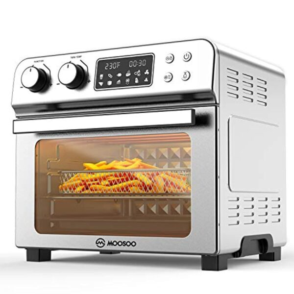 MOOSOO 12-in-1 Air Fryer Convection Oven, 24 Quart Ultra Large Capacity Toaster Oven, 1700W, LED Display Rotisserie Oven with 8 Deluxe Accessory Kits