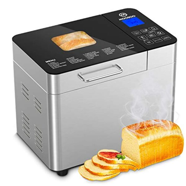 MOOSOO 25-in-1 Bread Machine , 2LB Stainless Steel Programmable Bread Maker Machine with Gluten-Free Setting, Bread Making Machine with Nonstick Ceramic Pot & Digital Touch Panel, Accessories Including 3 Kneading Paddles
