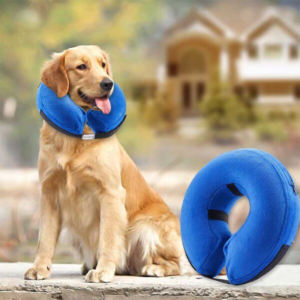 BENCMATE Protective Inflatable Collar for Dogs and Cats - Soft Pet Recovery Collar Does Not Block Vision E-Collar