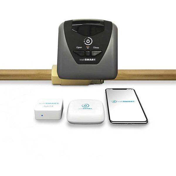 "Water Leak Detection Starter Kit by leakSMART includes 1"" Automatic Water Shutoff Valve, Water Leak Sensor, and Smart Hub"