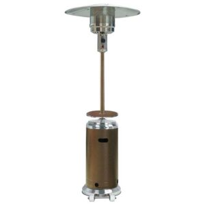 Hiland HLDS01-SSHGT 48,000 BTU Propane Patio Heater with Wheels and Table, Large, Hammered Bronze-SS