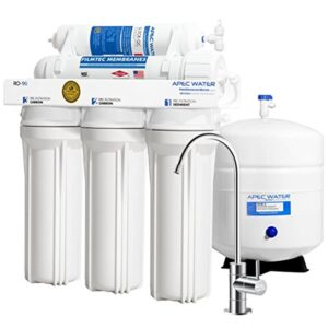 APEC Water Systems RO-90 Ultimate Series Top Tier Supreme Certified High Output 90 GPD Ultra Safe Reverse Osmosis Drinking Water Filter System, Chrome Faucet